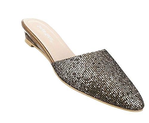 Damen Sandalen Schuhe Strandschuhe Sommerschuhe Pantoletten Pumps Bronze