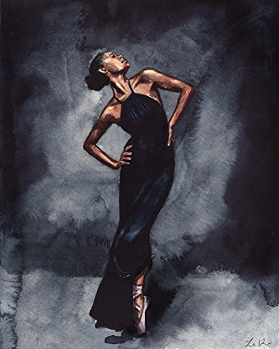 [Misty Copeland Dancer in Black Dress Giclee Print of Watercolor Painting 24x30 inches Fine Art Poster Ballet Ballerina Inspirational Vogue] (In The Spotlight Costumes)