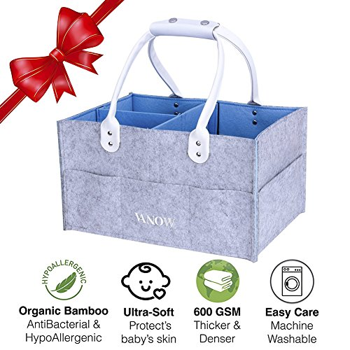 "Baby Diaper Caddy Organizer, Nursery Storage Bin and Car Carrier Basket for Outdoor Travel, Design Size 13.5"" x 9.5"" x 7"" (Grey/Blue)"