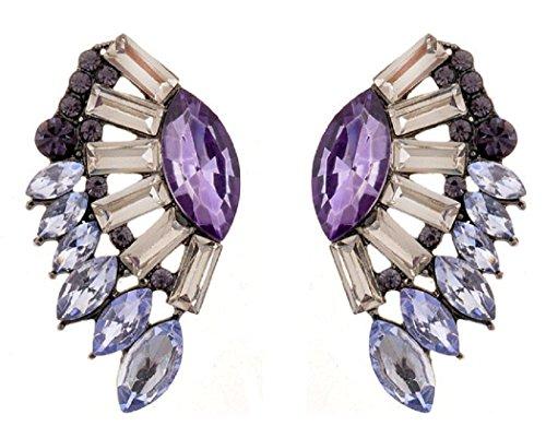 Veenajo Luxury Colorful Angle Wings Shape Leaves Design Glass Cluster Crystal Stud Earrings (purple)