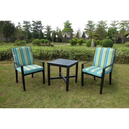 Patio Tree Piece Bistro Set, Steel Frame, Weather Resistant, Two Chairs, Polyester Cushions, UV Rated Fabric, Dining Set, Ideal for Backyard, Garden, Porch, Outdoor Furniture, BONUS E-book (Best Furniture Rated Sets Patio)