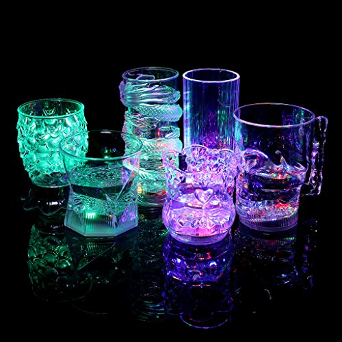 7 Color LED Flash Light Up Cups,Plastic Whisky Wine Drink Cup Liquid Drinkware Cups for Bar Night Club Party Halloween Christmas Supplies]()