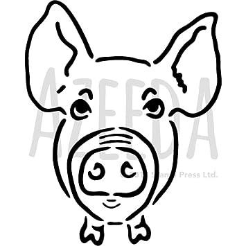 A4 Pig Wall Stencil Template WS00000303