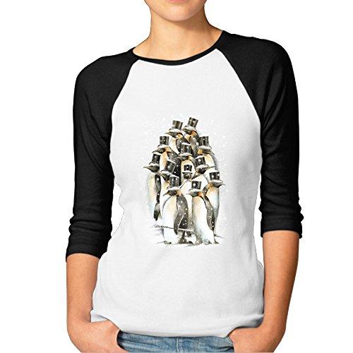 DonSir Animal Penguins Women Round Collar Raglan Tshirt Black XL