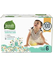 Seventh Generation Free and Clear Sensitive Skin Baby Diapers with Animal Prints, Printed, Size 6