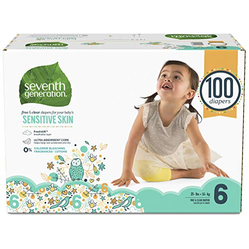Seventh Generation Baby Diapers for Sensitive Skin, Animal Prints, Size 6, 100 Count (Packaging May Vary) (Seventh Size Generation 6 Diapers)