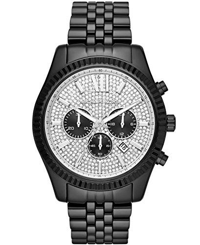 Michael Kors Men's Lexington Analog-Quartz Watch with Stainless-Steel Strap, Black, 0.8 (Model: MK8605) Black Dial Steel Chronograph Watch