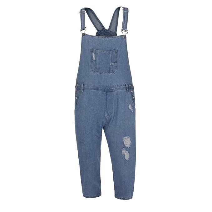 Pantalones Vaqueros Ajustados Pitillo para Hombre ZARLLE Peto De Hombre Fit Indigo Jeans Blue Denim Skinny Overol Destruido Agujero Slim Leg Jean ...