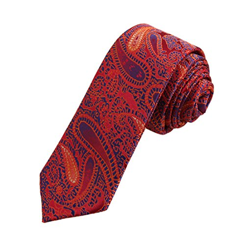 Tie Red Patterned (Dan Smith DAE7B29D Red Orange Blue Patterned Microfiber Skinny Tie Excellent For Lawyers Thin Tie)