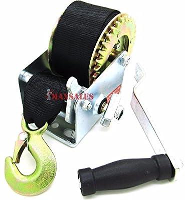 Click.Store)600lbs Hand Winch Hand Crank Strap Gear Winch ATV Boat Trailer Heavy Duty