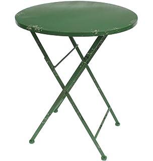 Milanari Klapptisch Vintage Runder Eisentisch Gentile Grün In Shabby Chic  Style Höhe 71 Cm