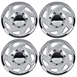 "BDK Ford Hubcaps Wheel Cover, 16"" Chrome Replica Cover, OEM Factory Replacement (4 Pieces)"