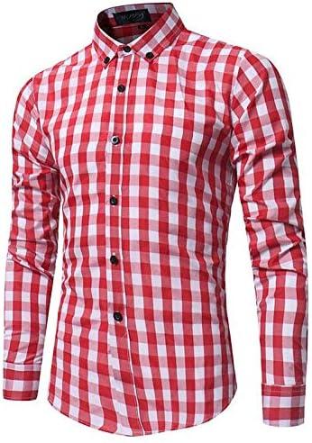 IYFBXl Camisa de Hombre - Cuello Cuadrado a Cuadros, Rojo, M: Amazon.es: Deportes y aire libre