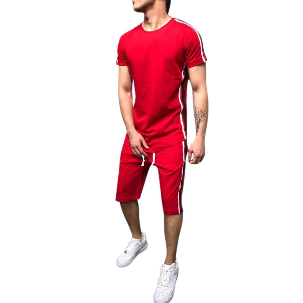Summer Stripe Sport Gym Tracksuit Short Sleeve Tops Drawstring Pants Sweatsuit Joggers Set 3XL Mens 2 Piece Outfits