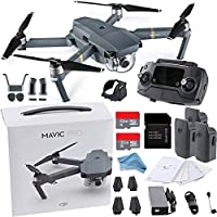 DJI Mavic Pro Collapsible Drone ALL YOU NEED Bundle w/ Remote Controller, Intelligent Flight Battery, 8330 Folding Propellers, Gimbal Clamp, Charger, AC Power Cable, 32GB microSD Card + MUCH More