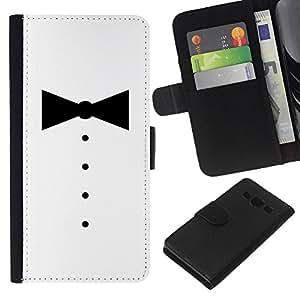 """JackGot ( Minimalista Tuxedo Bowtie"""" ) Samsung Galaxy A3 la tarjeta de Crédito Slots PU Funda de cuero Monedero caso cubierta de piel"""