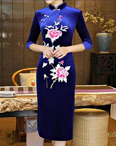 Femmes Confortables Ajustement Personnalisé Brodé Pleuche Cheongsam Robe Chinoise 2