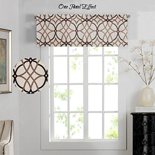 H.Versailtex Energy Saving Curtain Valances for Living Room,Matching with Curtain Panels (Rod Pocket,52 by 18 Inch,Geo in Taupe and Brown) (Valance For Kitchen Window)