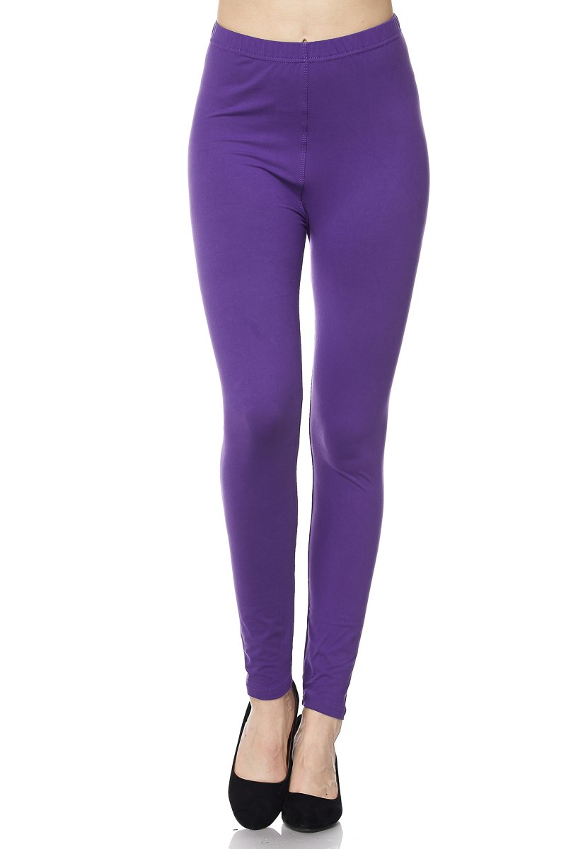 PALI USA Womens Soft Stretch Variety Solid Colors Brushed Leggings Pants (Purple, Plus Size(12-24))