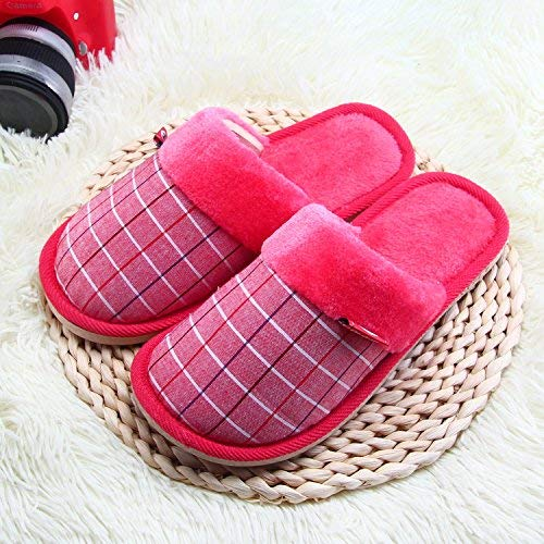 1 JaHGDU Women Home Slippers Interior Warm in Winter and Autumn Non-Slip Padded Slippers Red color Plaid Pattern Soft Plush shoes Indoor