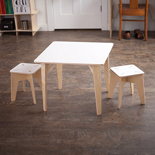 White Wooden Kids Table and Stools, Folding Activity Table Set, American Made by Sprout