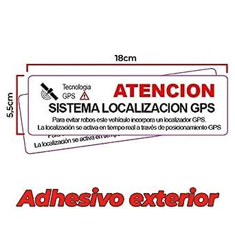 2 Pegatinas disuasorias localizador GPS vehiculos. Aviso ...