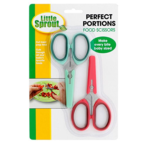 Baby Food Scissors with Covers - Set of 2 Stainless Steel Shears to Make Every Bite Baby Sized and Safe
