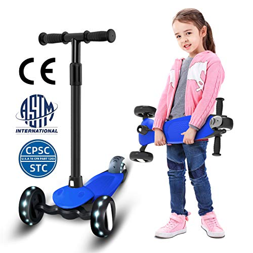 GLAF キックスクーター 子供用 キックボード 3輪 幼児 持ち運び便利なベルト付き 光るホイール スクーター ブレーキ付き 4段階調節可能 1.5-10歳に向け ギフトに最適 CE&CPSC&ASTM認証済み