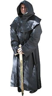 Rcbadress Men Women Renaissance Medieval Priest Friar Monk Wizard Sorcerer Robe Hooded Cloak Costumes for Halloween Cosplay