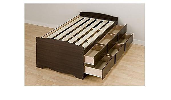 amazoncom espresso best tall twin 6drawer platform storage bed kitchen u0026 dining