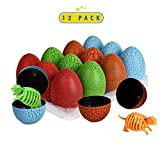 12 Pack Dinosaur Eggs with 3D Puzzle Dino Figure- Dinosaurs Party Favor Dino Supplies- Easter Eggs Toys Easter Basket Fillers Gifts For Kids