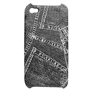 Negro cuero cubierta de plástico para el iPhone 4 4G