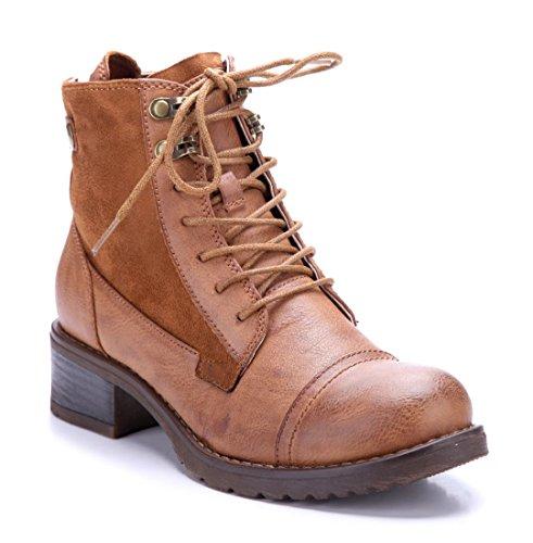 Schuhtempel24 Damen Schuhe Klassische Stiefeletten Stiefel Boots  Blockabsatz 4 cm Camel 1a61509827
