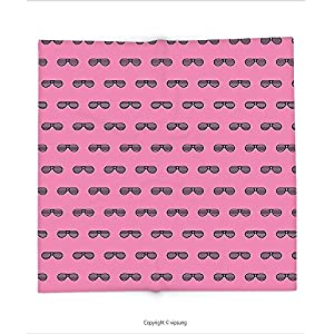 Custom printed Throw Blanket with Pink Retro Vintage House Club Party 70s 80s Inspired Fancy Singer Sun Glasses Image Pink and Black Super soft and Cozy Fleece Blanket