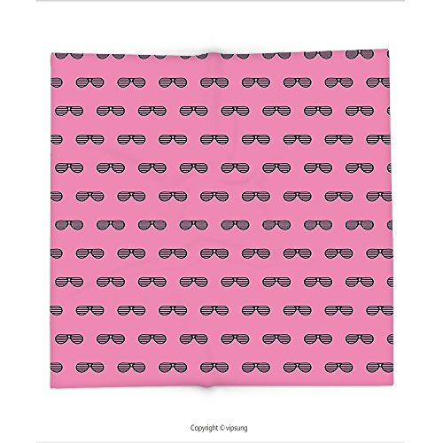 Custom printed Throw Blanket with Pink Retro Vintage House Club Party 70s 80s Inspired Fancy Singer Sun Glasses Image Pink and Black Super soft and Cozy Fleece - Sunglasses 80s Blade