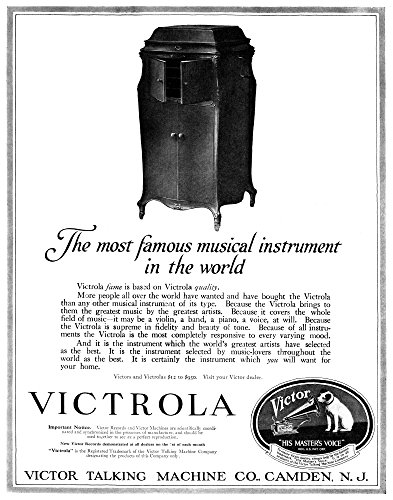 (Ad Victrola 1919 Namerican Advertisement for The Victrola Manufactured by The Victor Talking Machine Company 1919 Poster Print by (24 x 36))