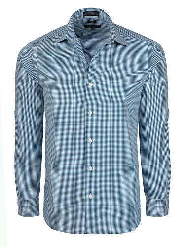 Marquis Signature  Men's Slim Fit Gingham Check Dress Shirt - Teal (15-15.5) 33/34 Sleeve (Sleeve Shirt Check Gingham)