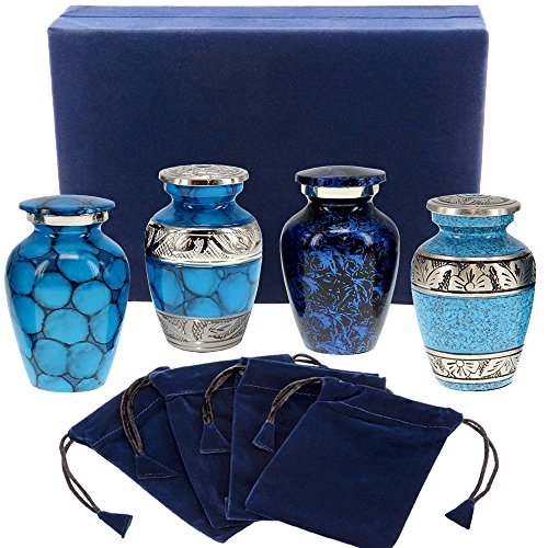 Forever Remembered Classic Blue Small Mini Cremation Keepsake Urns for Human Ashes - Find Peace and Comfort Everytime You Look at These Beautiful Urns - with Velvet Case and 4 Velvet Bags
