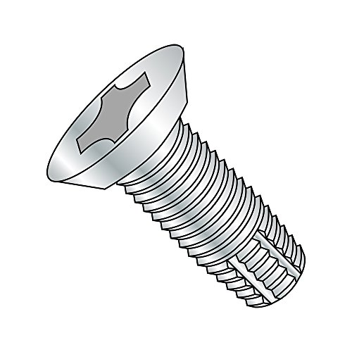 "Steel Thread Cutting Screw, Zinc Plated, 82 Degree Flat Undercut Head, Phillips Drive, Type F, #8-32 Thread Size, 3/8"" Length (Pack of 100)"