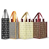 Reusable Wine Bottle Tote Bags - Set of 4 - Versailles