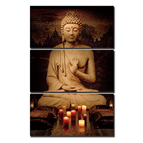 ShuaXin Buddha Artwall Painting Print on the Canvas for Home Decoration 3pcs/set Living room Decor Gift for Friends (With DIY Wood - Frames Different Size