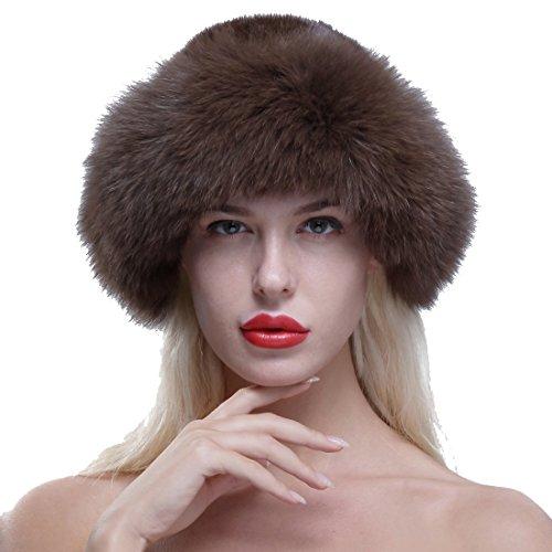 Fur Top Hat - URSFUR Women's Real Fox Fur Roller Hat with Mink Top Multicolor