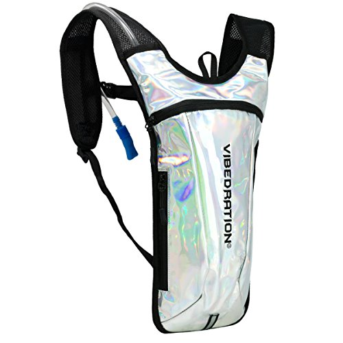 Holographic Rave Water Pack by Vibedration   2L Water Capacity   Rave Fashion, Music Festival Gear, Hydration Pack (Silver)