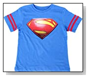 Superman Logo with Striped Sleeves Boys Royal Blue T-Shirt