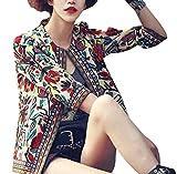 #10: Lapiness Women's Ethnic Cardigan 3/4 Sleeve Floral Printed Flyaway Jacket Coat