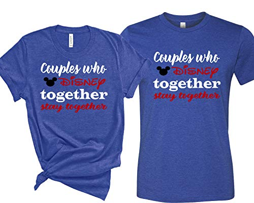 All Disney Minnie Mickey Mouse T Shirt for Women Men Couple,Couple Shirts, Matching Couple Shirts, Disney Shirts,His and Her T-Shirts - Tees (Blue, X Large)