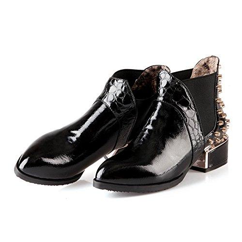 A&N Girls Elastic Band Square Heels Rivet Winkle Pinker Patent Leather Boots Black qJjBL