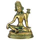 Statuestudio VZI013 Antique Green Indian God Indra Murti Sitting On Base Inder Idol Statue