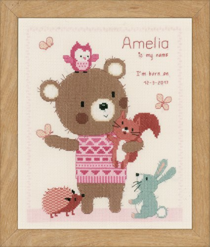 "Vervaco Cute Animal Friends on Aida  Cross Stitch Kit 9.25""X"