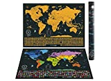 Scratch off World Map | Detailed Cartography 24'x16' Travel Size | Gold and Black World Map With Vibrant Colors and Hidden Iconic Landmarks of the World.Deluxe Tube by WanderLust Maps